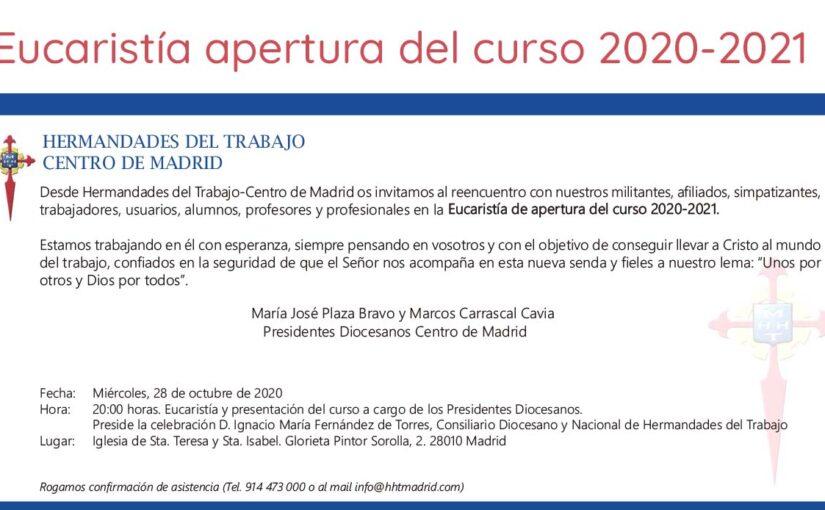 28 de octubre, Eucaristía de apertura del curso 2020-2021 del Centro de Madrid de HHT