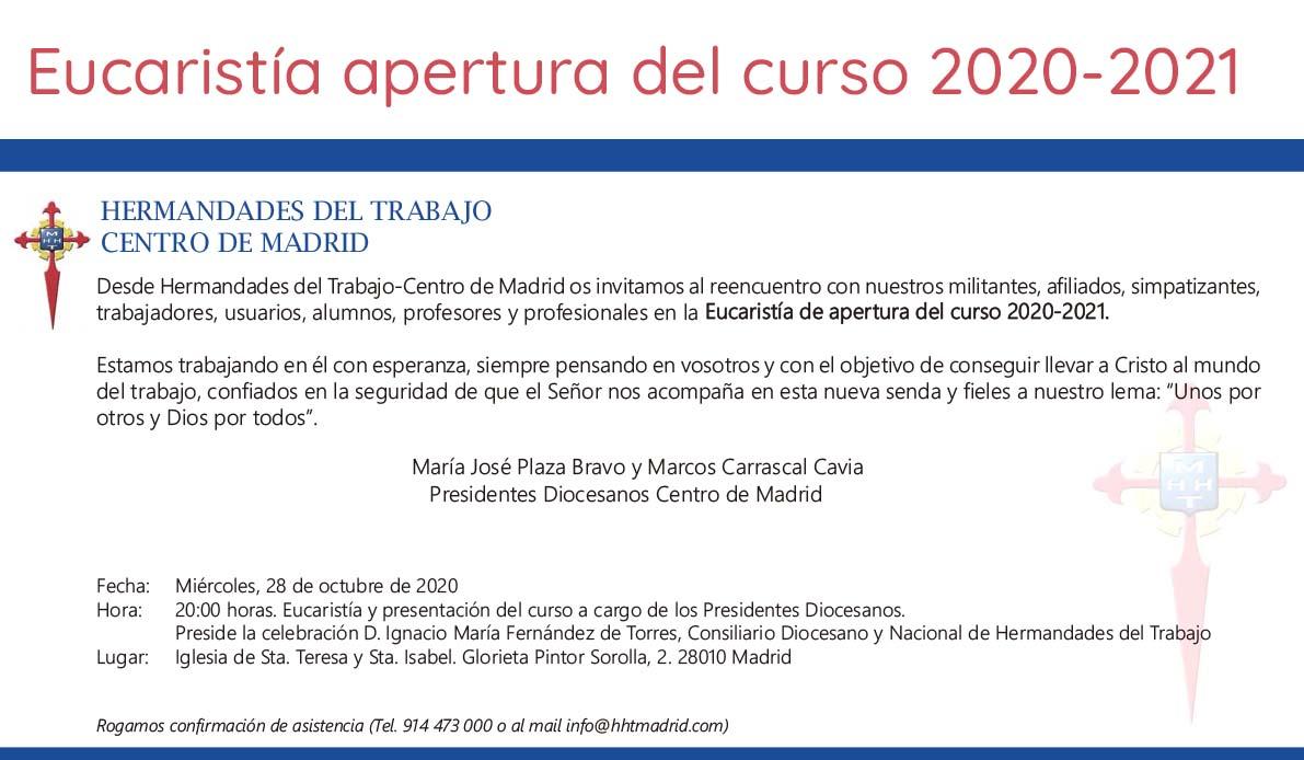 Eucaristía apertura del curso 20020-2021
