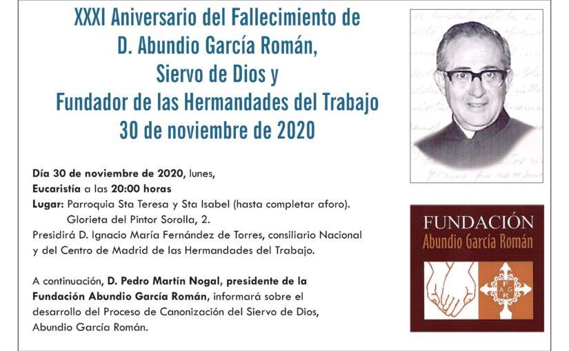 30 de noviembre, XXXI Aniversario del Fallecimiento de D. Abundio García Román