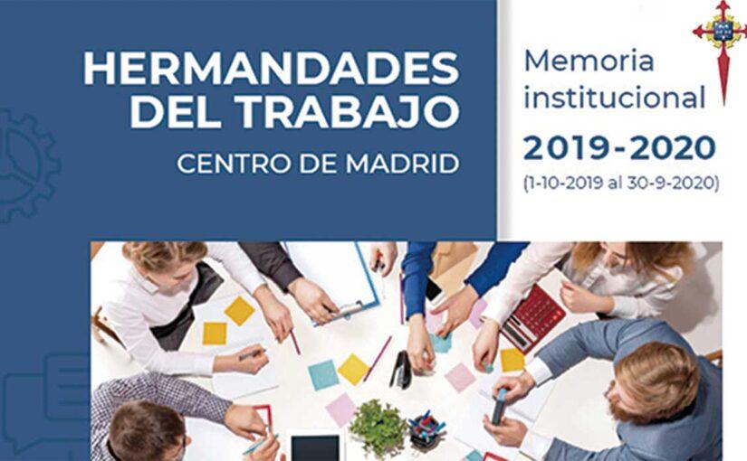 Memoria Institucional 2019-2020 de Hermandades del Trabajo-Centro de Madrid