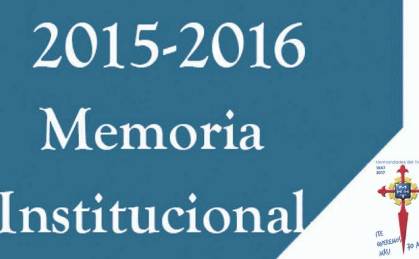 Memoria Institucional 2015-2016: actividades, logros y datos de interés