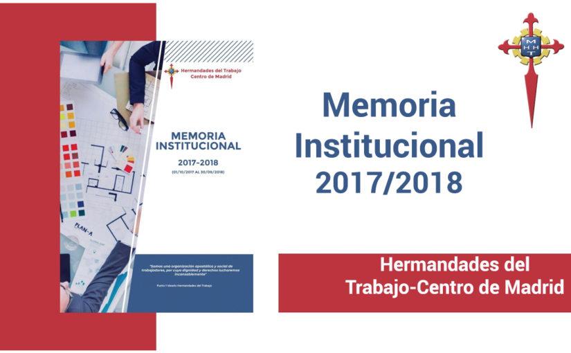 Hermandades del Trabajo-Centro de Madrid ha publicado la Memoria Institucional 2017/2018